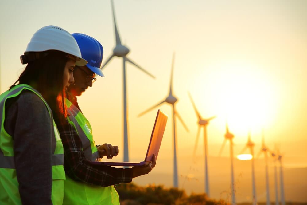 Male and female wind turbine engineers